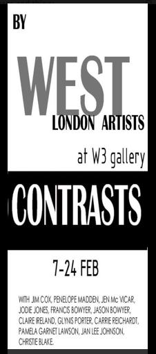 CONTRASTS art exhibition at West 3 Gallery February 2013, local artists reflecting skills and crafts of 21st century practices. Web page and opinions by Isabella Wesoly; links to West Three art space and artists