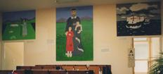 Making murals at St. Vincent's school in Acton, London W3. Life and works of Saint Vincent de Paul, the patron of the school. Triptych, 3 panels depicting 'youth' 'captivity' and 'patronage'. More community murals on the website. Free inspiration for more art!