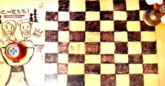 ALL BRIGHT CLUB West London, FREE resources for CREATIVE INSPIRATION sustainability chess board, from waste wood